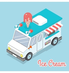 Flat 3d isometric ice cream truck with text vector image vector image