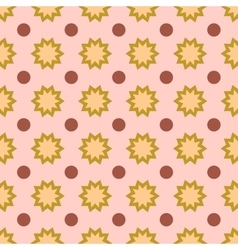 Flower and circle geometric seamless pattern vector image vector image