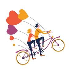 Flying tandem bike vector image vector image