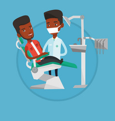 patient and doctor at dentist office vector image