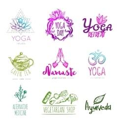 Sketch Yoga Logo Set vector image vector image