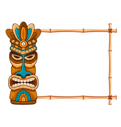wooden tiki mask and bamboo frame vector image