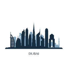 Dubai skyline monochrome silhouette vector