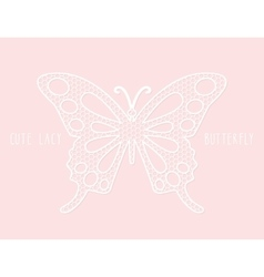 Lacy laser cutout butterfly on pastel pink vector image vector image