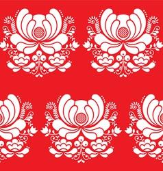 Norwegian folk art seamless white pattern on red vector image