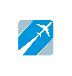 silhouette of flying plane in the square vector image