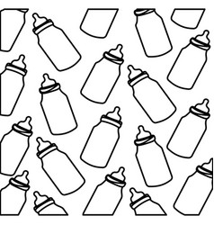 Silhouette pattern baby bottles with suck vector