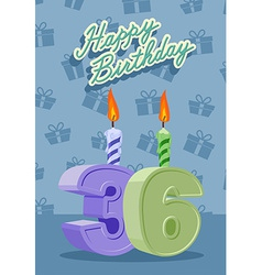 Happy birthday card with 36th birthday vector image