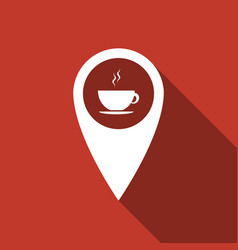 map pointer with hot coffee cup with long shadow vector image