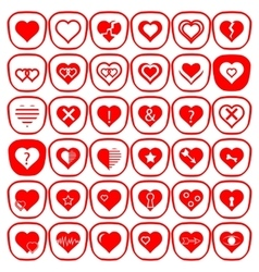 Set of Different Red Hearts Icons vector image vector image