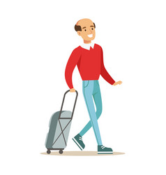 smiling man traveling with suitcase colorful vector image vector image