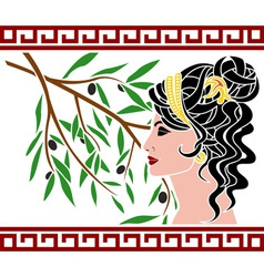 Aphrodite and olive branch vector image vector image