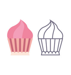 cupcake icons on isolated background vector image vector image