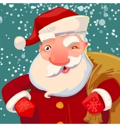 Cute santa on snow backdrop vector