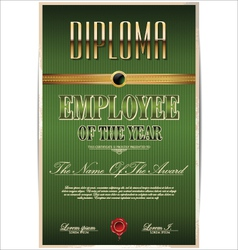 Green Diploma employee of the year vector image vector image