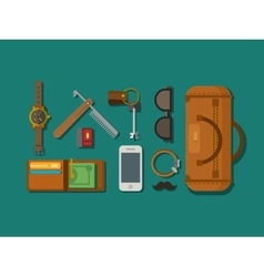 Hipster Elements Laying on Surface vector image