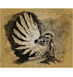 Skeleton with wings in the style of engraving vector image