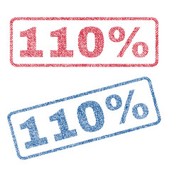 110 percent textile stamps vector image