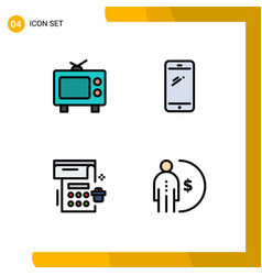 4 creative icons modern signs and symbols tv vector