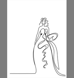 a girl in a long dress drawn line vector image