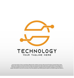 Abstract technology logo with concept initial vector
