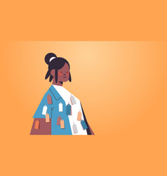African american woman with colorful tags labels vector