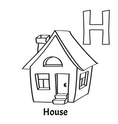Alphabet letter h coloring page house vector