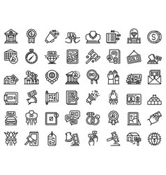 Auction icons set outline style vector