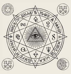 Banner with an all-seeing and esoteric symbols vector