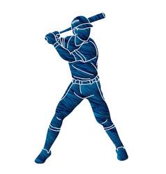 baseball player action cartoon graphic vector image