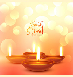 Beautiful diwali festival greeting with light vector