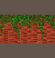 birck wall with ivy leaves green ivy foliage vector image