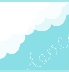 Blue sky fluffy white cloud in the corner dash vector