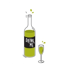 Bottle green liquid and wineglass drawing vector