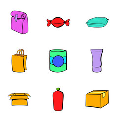 box icons set cartoon style vector image