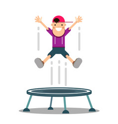 Boy jumps on a trampoline vector