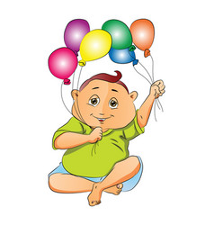Boy playing with balloons vector