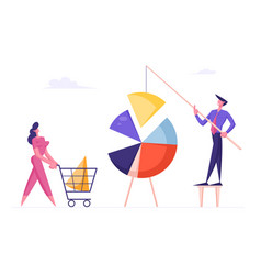 business people connecting huge pie chart elements vector image