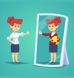 Businesswomen standing in front of a mirror vector