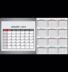 calendar 2019 week start on sunday vector image