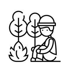 camper line icon concept sign outline vector image