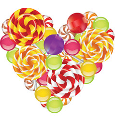 Candies in shape of heart vector
