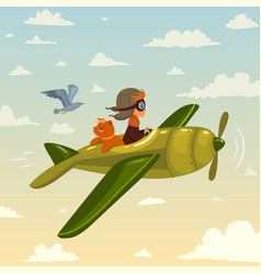cartoon boy in airplane vector image