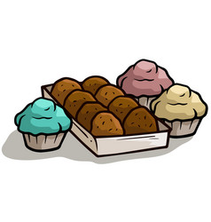cartoon chocolate cake muffin in box icon vector image