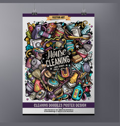 Cartoon colorful hand drawn doodles cleaning vector