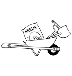 Cartoon wheelbarrow with tools vector