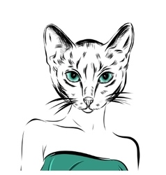 Cat girl dressed up in party dress animal vector