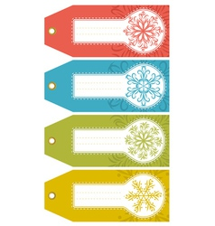 Christmas labels with snowflakes and place for tex vector
