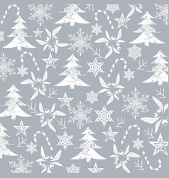 Christmas pattern white silhouets on a grey vector
