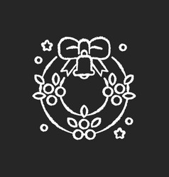 christmas wreath chalk white icon on black vector image